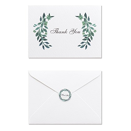 MAGJUCHE Green Leaves Thank You Note Cards - 32 Cards - with White Envelopes