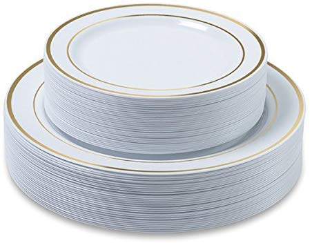 White Classic Plate Dinner (Disposable Plastic Plates - 120 Pack - 60 x 10.25