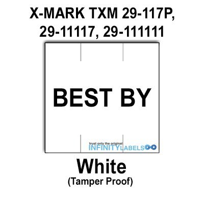 78,000 X-Mark 2900 compatible ''BEST BY'' White Labels to fit the X-Mark TXM 29-117P, 29-11117, 29-111111 Price Guns. Full case. by Infinity Labels