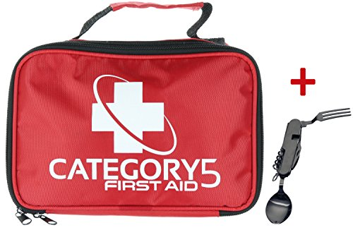 CATEGORY5 First Aid Kit - Compact Small Perfect Survival Emergency Disaster Earthquake - Fits in Car Home Office Travel Camping Hiking