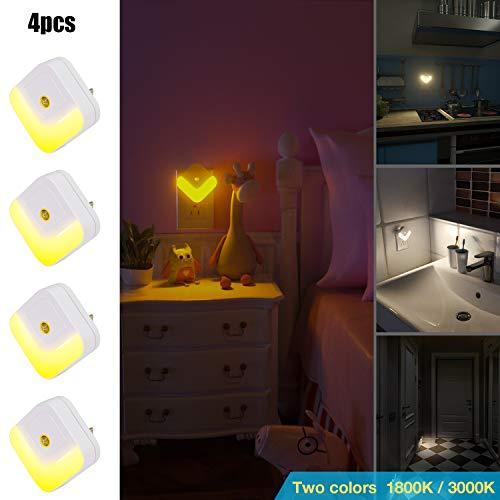 Ulighting U New Design Candle 1800K Plug in Night Light Not Glaring, Roo 2Colors LED Nightlight 1800k/3000k, Dusk-to-Dawn Sensor, for Bedroom, Bathroom, Kitchen, Kids Room, Hallway, Stairs
