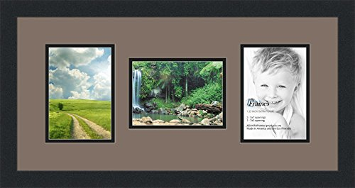 Art to Frames Double-Multimat-114-748/89-FRBW26079 Collage Photo Frame Double Mat with 3 - 5x7 Openings and Satin Black Frame (Christmas Frames Collage)