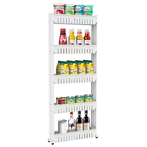 - Yaheetech 5 Tier Slim Storage Cart Mobile Shelving Unit with Wheels Slide Out Plastic Shelf for Kitchen Bathroom Bedroom Laundry Room Narrow Spaces Organizer