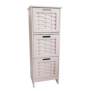 Slim White Weave 3 Drawer Storage Unit / Bathroom Cabinet