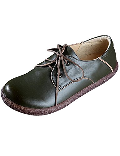 New Women's Up Zoulee Lace Leather Green 8 Style Flat Toe Round Shoes qRxdwdtB