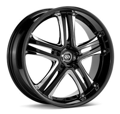 18x8 Enkei AKP (Black w/ Chrome Trim) Wheels/Rims 5x114.3 (452-880-6540BK)