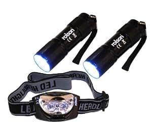 Rolson 61762 - Linterna de 9 luces LED y linterna frontal de 3-LED Head Light Set