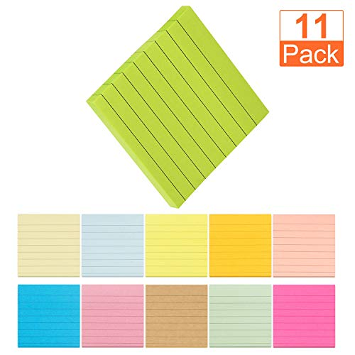 A+Selected Super Sticky Notes 3x3 Inches, 11 Pack Colored Stick Notes with Lined, Self-Stick Note Pads Use for Reminders or Message on Doors, Windows and Walls Red, Pink, Orange, Yellow, -