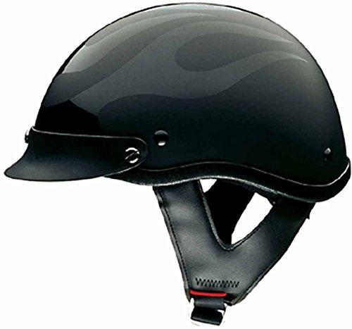 HCI Men's Black Flat Flame Motorcycle Half Helmet. 100-119