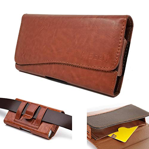 AISCELL Cellphone Belt Clip Hip Case Tan Leather Wallet Pouch Holster 6.60X3.70X0.60 Inches,Work with iPhone Xs Max, XR, 8 Plus, 7 Plus, 6S Plus with Hybrid Protective Cover Skin Hard Case 17 Tan