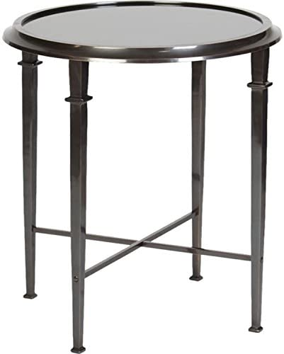 Four-Legged Occasional Accent Table with Inset Black Granite in Dark Bronze Finish