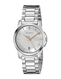 Gucci YA126523 Women's Timeless Wrist Watches, Silver Dial, Silver Band