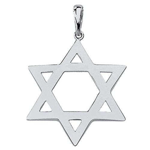 Polished 14k White Gold Simple Jewish Charm Star of David Pendant ()