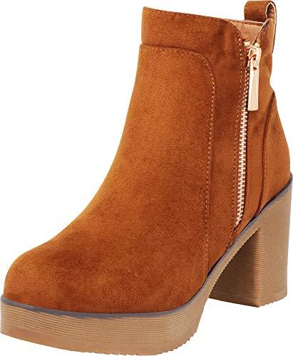 en's Round Toe Chunky Platform Block Heel Ankle Bootie,9 B(M) US,Tan IMSU ()