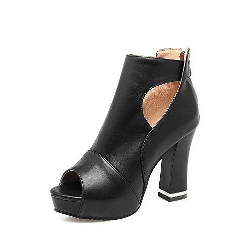 Femmes La Couleur Heels Chaussures Du Poisson Black Pure D'épaisseur High Format Plate Sandales Étanche Bouche forme Avec Grand Sx0wq05R6
