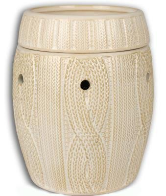 IVORY CABLE KNIT FRAGRANCE WARMER - WAX MELTER by Boulevard