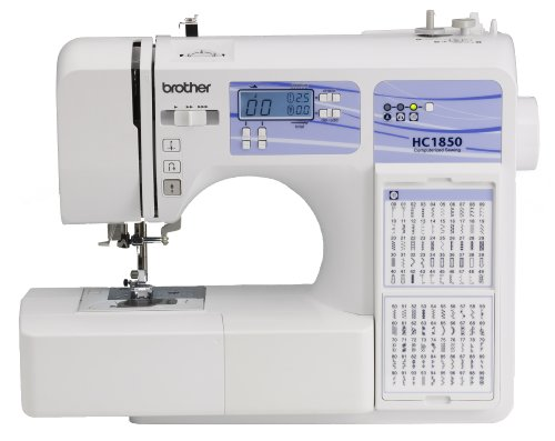 - Brother Computerized Sewing and Quilting Machine, HC1850, 130 Built-in Stitches, 8 Presser Feet, Sewing Font, Wide Table, 850 Stitches Per Minute, Instructional DVD, 25-Year Limited Warranty