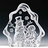 VG Engraved Lead Crystal - Playing Snowman