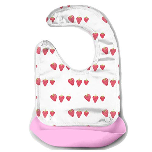 Waterproof Baby Super Bib Feeding Roll-up Bibs Strawberry Fruit White Silicone Bib For Babies&Toddlers ()