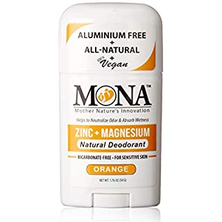 MONA BRANDS All Natural Deodorant for Sensitive Skin   Baking Soda free, Aluminum free, with Magnesium & Zinc   For Women, Men & Teens   Plant-based, Vegan, Non-GMO, Gluten & Cruelty free   ORANGE