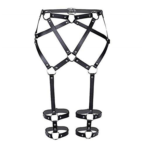 (Lucklybestseller Women's Sexy Punk Leather Harness Gothic Waist Body Adjustable Best Suspenders (Black))