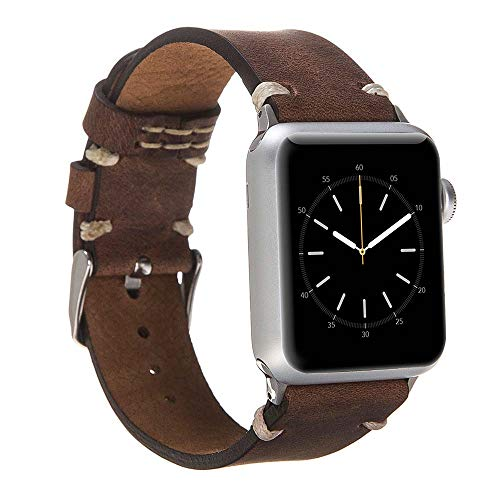 Hardiston Leather Band Compatible with Apple Watch | Handmade Genuine Leather Replacement Strap for iWatch Series 4 (40mm) / Series 3 Series 2 Series 1 (38mm) | Stitch End | Antic Brown