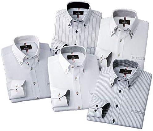 【5枚組】 <DUNLOP MOTORSPORT ダンロップ・モータースポーツ> 形態安定デザインワイシャツ メンズ