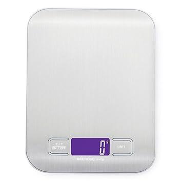 YepLife Bilancia da Cucina Digitale con Funzione Tare, 10kg/22lb Professionale Acciaio Inox Alta Precision Bilancia Elettronica per la Casa e la Cucina, Batterie Incluse (argento)