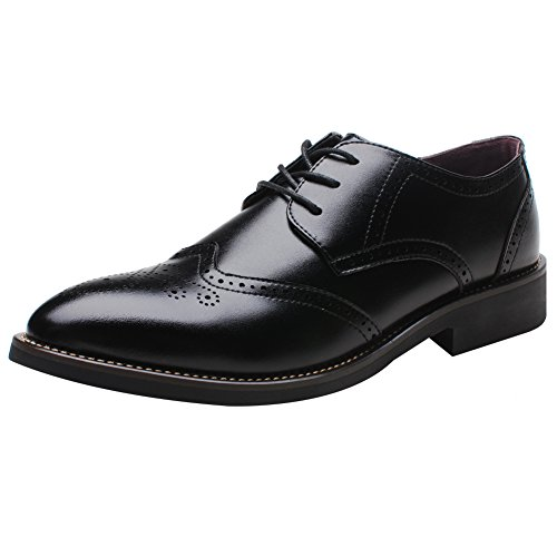 rismart British Style Men's Fashion Pointed-Toe Oxfords Brogue Dress Leather Shoes Black 856 US12 (Lace Pointed Oxfords Toe)