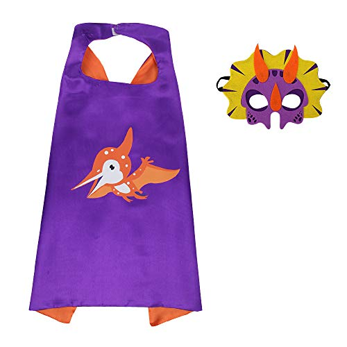 HugeHug Halloween Dinosaur Cape and Mask Cloak Role Play Dress Up Costumes Themed Birthdays Party for Kids Favors -