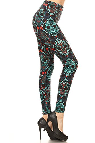 Leggings Depot REG/PLUS Women's Best Selling Buttery Soft Popular Prints BAT21 (Plus (Size 12-24), Green Envy)
