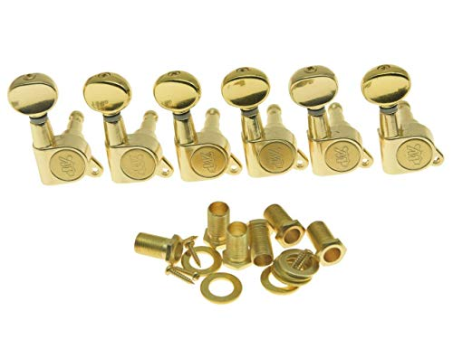 Wilkinson Mini Oval Button 6 Inline Gold E-Z-LOK Post Guitar Tuners EZ Post Guitar Tuning Keys Pegs Machine Heads
