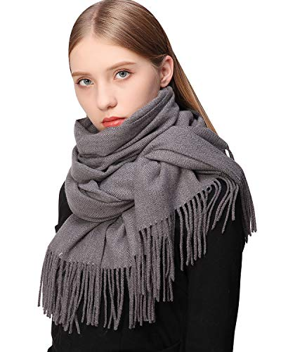 RIIQIICHY Women Scarf Pashmina Shawls Wraps for Evening Dress Bridesmaid Wavy Design Warm Winter Thicker Soft Scarves