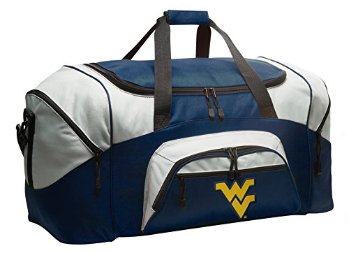 Large West Virginia University Duffel Bag WVU Gym Bags or Luggage by Broad Bay