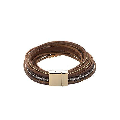 ZOBDX Women Leather Bracelet Rope Hand Woven Wrap Bracelet with Magnetic Buckle Cuff Bangle Jewelry Women Girl Gift (Brown)