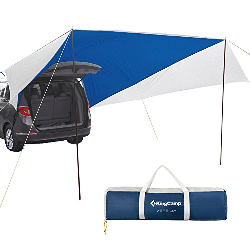 KingCamp Awning Sun Shelter XL (13′ x 16′) Portable Waterproof Durable Tarp Canopy Camper Trailer Tent Roof Top for Beach, SUV, Camping, Event