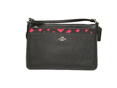 COACH EAST/WEST CROSSBODY WITH POP-UP POUCH WITH WILD PLAID PRINT F22251 Red Chalk Multi