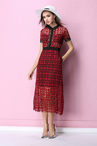 Bridesmaid Lace Bridal Floral Dress Red Pary for Elegant Vintage Women Annie's xTBCnZqC