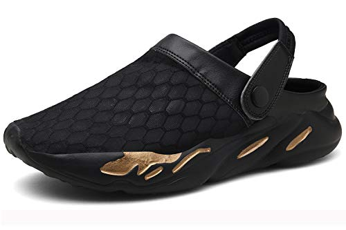 Eagsouni Men's Women's Garden Clogs Mesh Slippers Sandals Breathable Summer Beach Shoes Lightweight Quick Drying Outdoor Walking Slippers D Black - Ladies Open Toe