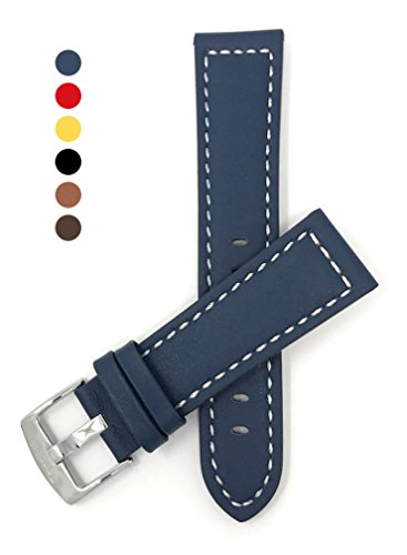 Genuine New Tag - 22mm Blue Racer with White Stitching, Genuine Leather Watch Strap Band, with Stainless Steel Buckle, NEW!