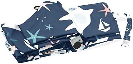 Akiraki 折りたたみ傘 レディース 軽量 ワンタッチ 自動開閉 メンズ 日傘 UVカット 遮光 海豹 アザラシ 海星 ネイビー かわいい 可愛い 折り畳み傘 晴雨兼用 断熱 耐強風 雨傘 傘 撥水加工 紫外線対策 収納ポーチ付き