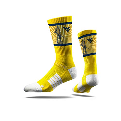 Strideline NCAA West Virginia Mountaineers Premium Athletic Crew Socks, One Size, - Mountaineers Men Virginia Basketball West