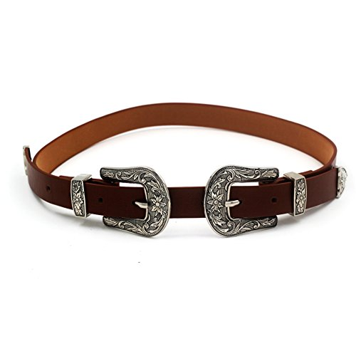 MoYoTo Women's Fashion 25mm Retro Carved Double Buckle Western Thin Leather Belt (Double Buckle(Brown))