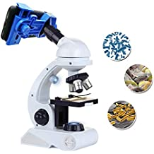 Kidcia Microscope for Kids Science Kit, Beginner's Microscope Kit Blue/White with LED 80X 200x and 450x Magnification Science Toy, Educational Toy Birthday Gift for Boys & Girls