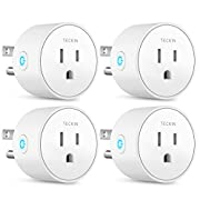 #LightningDeal TECKIN Smart Plug Mini WiFi Outlet Wireless Socket Compatible with Alexa, Echo,Google Home and IFTTT, WiFi Socket with Timer Function,No Hub Required, White (4 Pack)