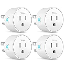 TECKIN Smart Plug Mini WiFi Outlet Wireless Socket Compatible with Alexa, Echo,Google Home and IFTTT, WiFi Socket with Timer Function,No Hub Required, White(4 Pack)