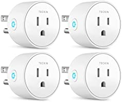 Smart Plug Mini WiFi Outlet Wireless Socket Compatible with Alexa, Echo,Google Home and IFTTT, Teckin Smart Plug WiFi Socket with Timer Function,No Hub Required, White (4 Pack)