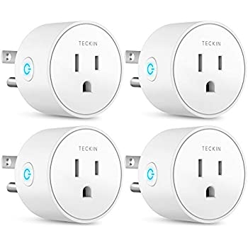 Smart Plug Works with Alexa Google Assistant IFTTT for Voice Control, Teckin Mini Smart Outlet Wifi plug with Timer Function, No Hub Required, White FCC ETL Certified (smart plug)
