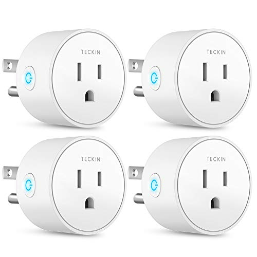 Smart Outlet Works with Google Assistant IFTTT for Voice Control, Teckin Mini Smart Plug Wifi Socket with Timer Function, No Hub Required, White (1 pack) (4 pack)