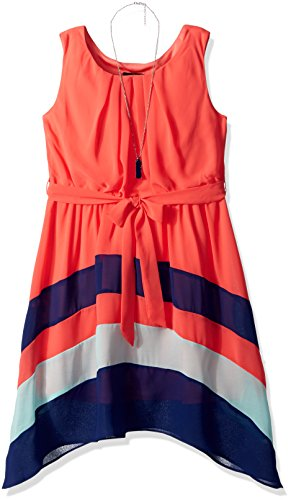 Price comparison product image Amy Byer Big Girls' Sleeveless Colorblock Sharkbite Hem Dress, Coral, 12